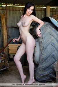 naked sexy porn women picpost thmbs sexy nude dark haired woman tractor wheel pics
