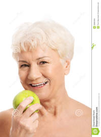 nude old women photos nude old woman holding apple isolated white stock