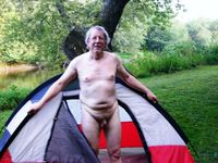 older nudists pics mature naturist man camping
