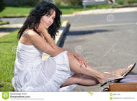 pics of sexy old women attractive woman sits curb sexy brunette sitting next road white sundress feet resting suitcase old leather stock photo