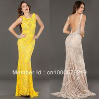 pictures of sexy mature ladies wsphoto bright yellow scooped neckline beaded lace long sheath sexy open back mature ladies evening dress item real sample column strapless empire panel train chiffon pleats blue