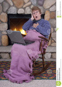 purple porn mature mature senior woman shock surprise laptop computer stock photos