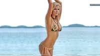 sexy mature bikinis brooklyn decker super sexy pose golden bikinis sea side