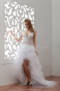 sexy mature pri arrival sexy mature asymmetrical neck court train satin organza sheer wedding dress