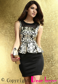 sexy pic mature productpic sexy mature foil print peplum dress