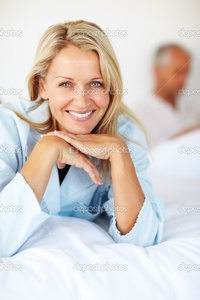 beautiful mature depositphotos beautiful mature blond lying bed husband back stock photo
