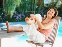 beautiful mature depositphotos beautiful mature lady relaxing swimming pool sunny day stock photo