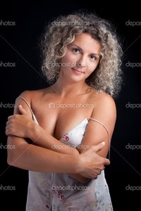 black mature depositphotos curly mature woman wearing lingerie posing black background stock photo