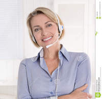blond mature portrait blond mature woman blue blouse headphone stock photography