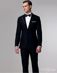double mature personality solid black double buttons bowtie vents wool mature designer groom suit cheap online