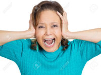 facial mature atic closeup portrait worried stressed overwhelmed senior mature woman upset covering ears screaming goin photo