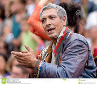 france mature mature actor clapping crowd aurillac france august middle part international street theater royalty free stock photos