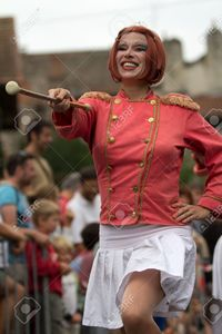 france mature allg aurillac france august mature majorette holding twirling baton international stre stock photo