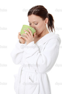 lady mature depositphotos mature lady bathrobe drinking from mug stock photo