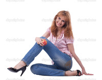 lady mature depositphotos mature woman jeans sit apple stock photo