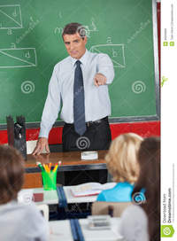mature teacher mature teacher pointing students male teaching classroom royalty free stock