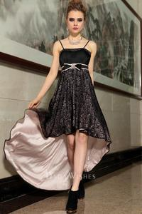 mature black product mature black spaghetti strap high low beaded embroidered skirt prom dress