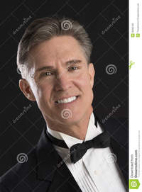mature black handsome man tuxedo isolated over black background close portrait mature stock photography