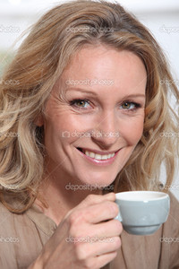 mature blonde depositphotos mature blonde woman cup coffee
