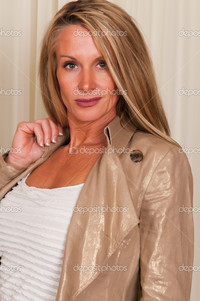 mature blonde depositphotos casual dress stock photo