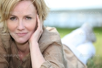 mature blonde depositphotos portrait magnificent mature blonde lying grass stock photo