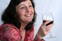 mature brunette hallgerd beautiful mature brunette glass wine photo
