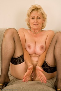 mature gilf showcases yeata mature gilf stockings amateur showing off great body hairy pussy from front