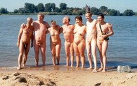 mature group mature nudist group beach naturist