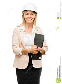 mature hard mature woman supervisor wearing hard hat isolated white backg happy royalty free stock