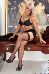 mature heels scj galleries gallery horny mature secretary flaunts naked body atop desk