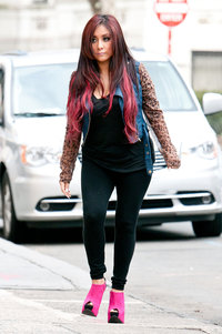 mature heels snooki nicole polizzi denim jacket photo