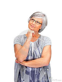 mature old mature old female day dreaming white background stock photography