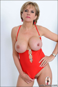 mature red fets nsonia classy busty mature babe one piece red swimsuit from lady sonia