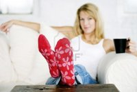 mature red inspirestock mature lady wearing pair red flowery sock photo