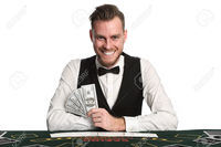 mature spread robinsphoto mature casino worker wearing black vest white shirt bowtie holding fan dollar bill stock photo