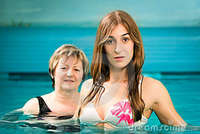 mature young wellness mature young woman swimming pool royalty free stock photos