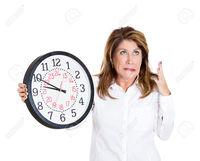 mom mature atic closeup portrait mature woman worker holding clock looking anxiously pressured lack running out stock photo overwhelmed mom