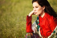 outdoor mature vukvuk mature woman gypsy style clothes outdoor shot photo