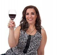 red mature anikasalsera smiling mature woman glass red wine isolated white background photo