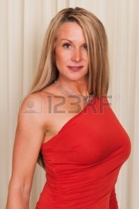 red mature disorderly beautiful mature blonde red dress photo