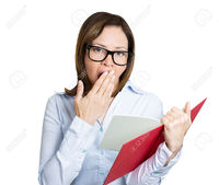 red mature atic closeup portrait mature nerd woman black glasses bored yawning tired from reading red book photo