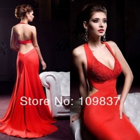 red mature htb kdkpxxxxaaxxxxq xxfxxxb gorgeous red sleeveless open back halter design lace appliqued floor length modern long chiffon mature women item