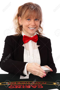 red mature robinsphoto blonde mature casino worker wearing black blazer red bow tie white background stock photo