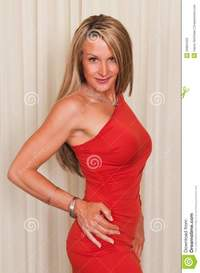 red mature red dress stock photo