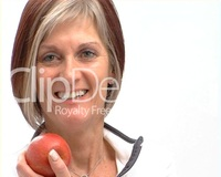 red mature previews healthy mature female red apple video media