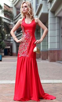 red mature nimg eefbd red floor length sheath halter embroidery mature evening dress bridesmaids products search