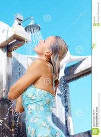 shower mature mature woman having shower outdoors royalty free stock