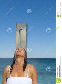 shower mature refreshing shower woman ocean royalty free stock photos
