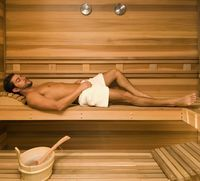 shower mature sharp luxurious home sauna design using modern wall thermometer also cozy head rest bench ideas