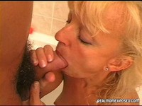 shower mature blonde mom sucks hubbies cock shower